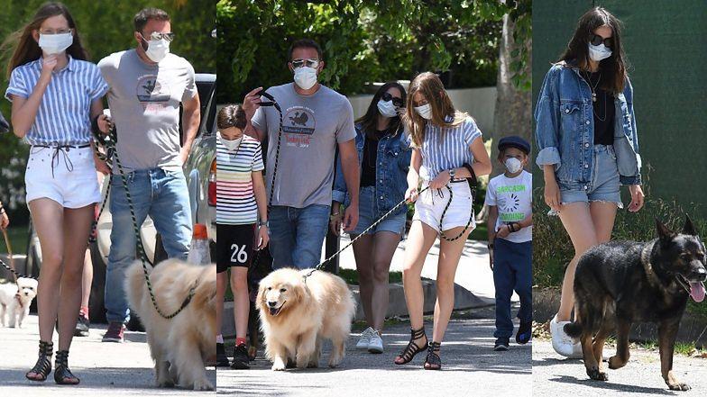 Zadowolony Ben Affleck wyprowadza na spacer psa Jennifer Garner w towarzystwie młodszej o 16 lat ukochanej i dzieci (ZDJĘCIA)