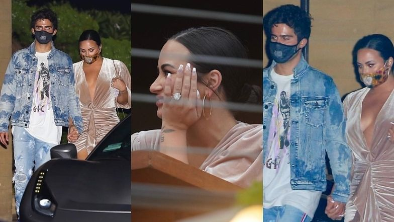 Świeżo zaręczona Demi Lovato prezentuje okazały pierścionek podczas kolacji z narzeczonym (ZDJĘCIA)