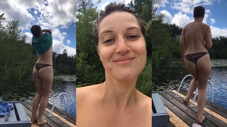 Wyzwolona Aleksandra Domańska rozbiera się do rosołu w rytm muzyki, po czym wskakuje do jeziora (WIDEO)