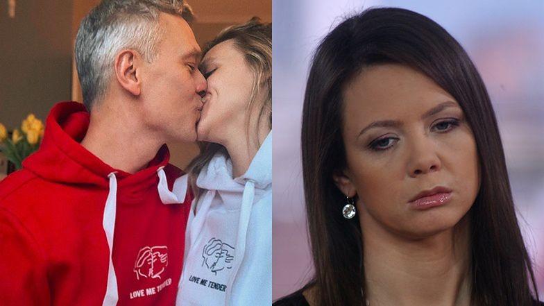 """Michał Żebrowski całuje żonę i śmieje się z Kingi Rusin: """"Koniecznie w kapciach"""""""