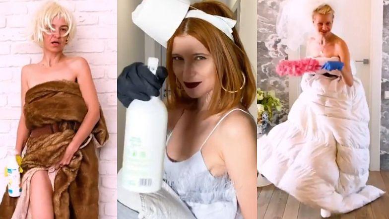 """Ubrana w KOŁDRĘ Małgorzata Kożuchowska przechadza się z detergentem po """"domowym wybiegu"""": """"Odpinam wrotki!"""""""