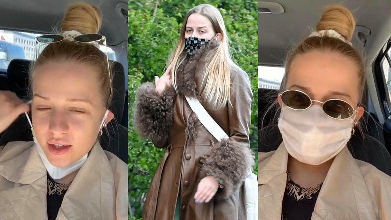 """Rozweselona Jessica Mercedes komentuje swoje zdjęcia na Pudelku: """"Już więcej nie rozpinam płaszcza"""""""