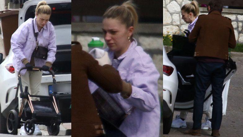 Martyna Gliwińska pakuje do samochodu warty 8 TYSIĘCY ZŁOTYCH wózek w towarzystwie tajemniczego mężczyzny (ZDJĘCIA)