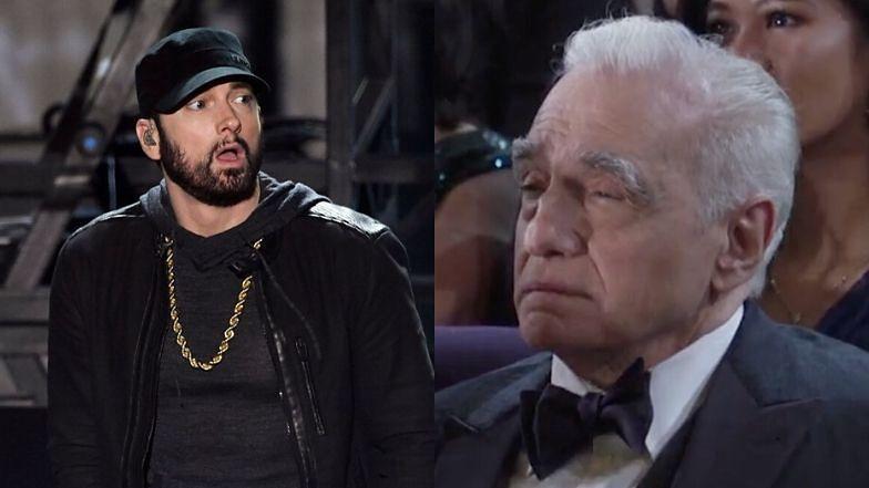 Oscary 2020. Eminem niespodziewanie pojawił się na tegorocznej gali. Zaśpiewał, ale Martin Scorsese raczej nie był pod wrażeniem... (FOTO)