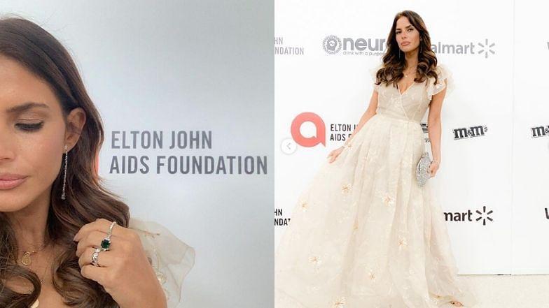 Oscary 2020: Weronika Rosati z torebką Elizabeth Taylor bryluje na imprezie Eltona Johna