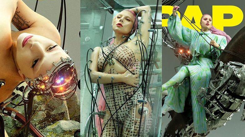 """Futurystyczna Lady Gaga jako rozebrany cyborg ODSŁANIA POŚLADKI w nowej sesji dla """"Paper Magazine"""" (ZDJĘCIA)"""