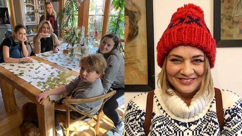 Uśmiechnięta Małgorzata Ostrowska-Królikowska spędza czas z rodziną i apeluje o zostanie w domach (FOTO)