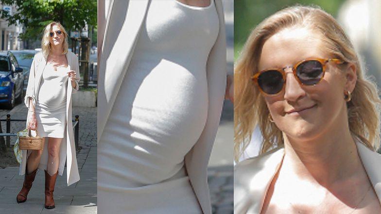"""Lara Gessler w opiętej sukience eksponuje ciążowy brzuszek po wyjściu z """"Dzień Dobry TVN"""" (ZDJĘCIA)"""