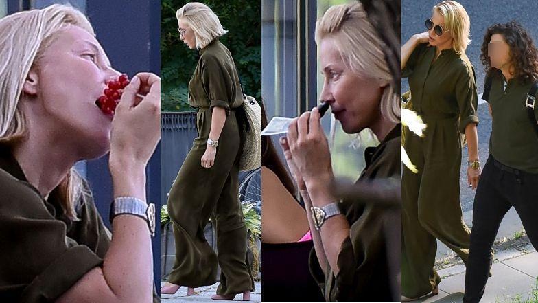 Stylowa Katarzyna Warnke objada się porzeczkami i raczy zapachem banknotów