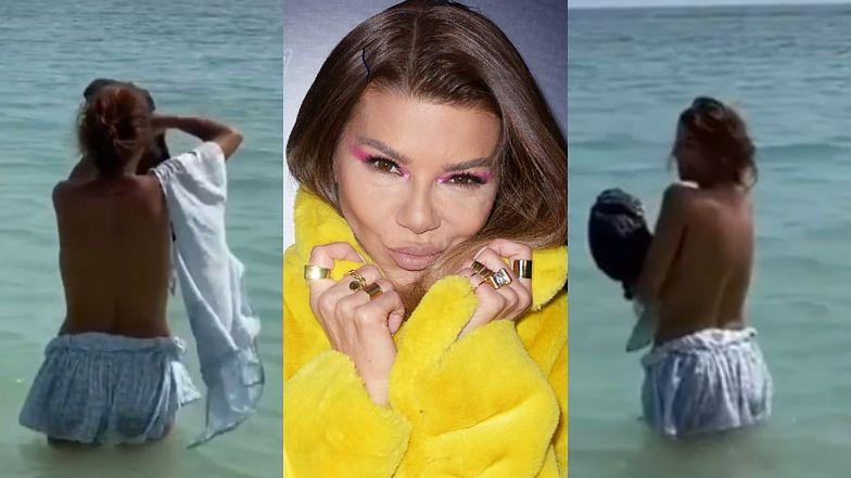 Walentynkowa Edyta Górniak zrzuca z siebie piżamkę, flirtując z obiektywem do piosenki Justina Biebera