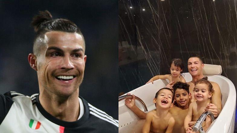 """Roześmiany Cristiano Ronaldo pozuje w wannie z gromadką pociech: """"Radosna chwila z moimi dziećmi"""" (FOTO)"""