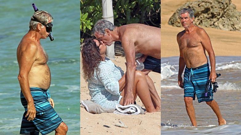 67-letni Pierce Brosnan pluska się w oceanie i wymienia czułości z żoną na hawajskiej plaży (ZDJĘCIA)