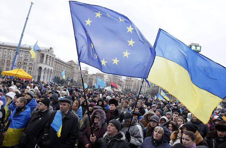 Protest zwolenników wejścia Ukrainy do Unii w Kijowie