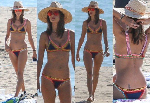 Alessandra Ambrosio w bikini na plaży w Malibu. Seksowna? (ZDJĘCIA)