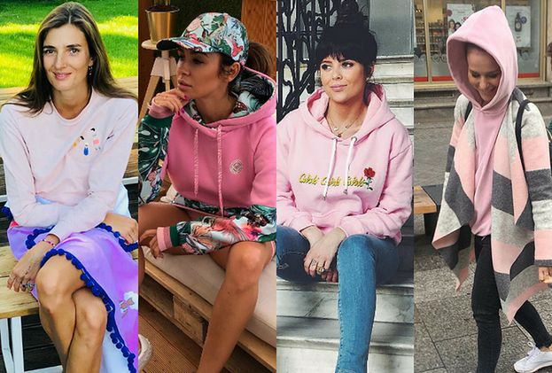 Różowa bluza w stylizacjach celebrytek