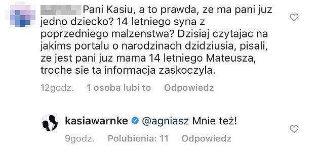 """Katarzyna Warnke odpowiada na plotki o tym, że ma już 14-letniego syna: """"Hm, dziwnie, że go nie poznałam, ANI JEGO OJCA"""""""