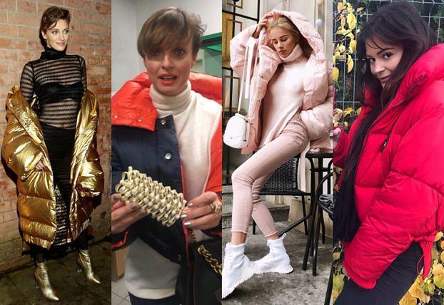 Najmodniejsze kurtki puchowe w stylizacjach celebrytek