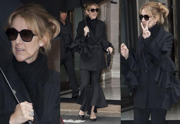 Celine Dion w czarnym garniturze z falbanami