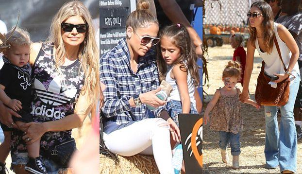 Lopez, Alba i Fergie z dziećmi wybierają dynie (ZDJĘCIA)