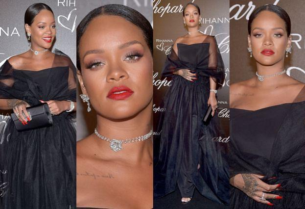 Tiulowa Rihanna pozuje w Cannes