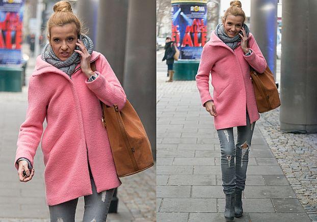 Koroniewska w różowym płaszczu i podartych dżinsach (ZDJĘCIA)