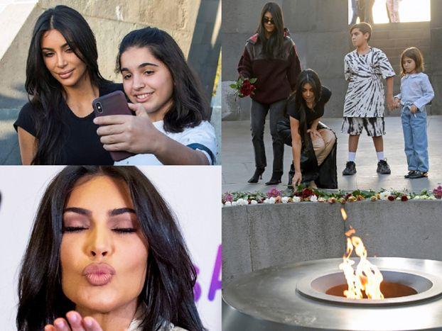 Posępna Kim Kardashian składa kwiaty pod pomnikiem Ofiar Ludobójstwa Ormian (FOTO)