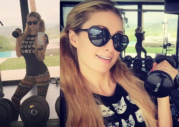 Co robi Paris Hilton na siłowni? Pozuje z ciężarkami