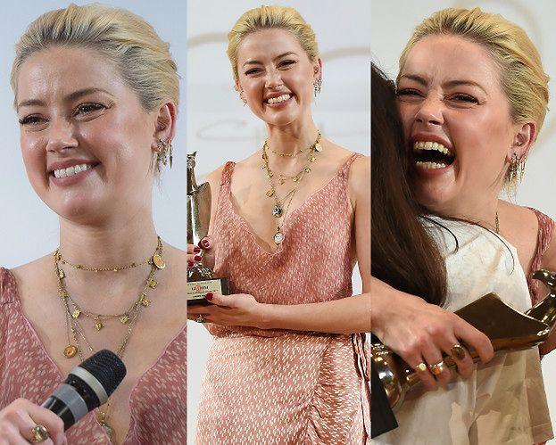 Amber Heard z ODMIENIONĄ TWARZĄ cieszy się z nagrody na dziecięcym festiwalu filmowym (ZDJĘCIA)
