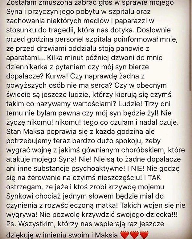 """Dominika Tajner w emocjonalnym oświadczeniu: """"Nie byłam pewna, czy mój syn BĘDZIE ŻYŁ"""""""