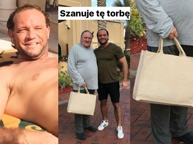 Emil na wakacjach fotografuje się z torbą Depardieu (FOTO)