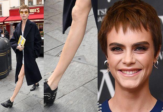 PRZERAŹLIWIE CHUDA Cara Delevingne w nowej fryzurze promuje w Londynie swoją powieść! (FOTO)
