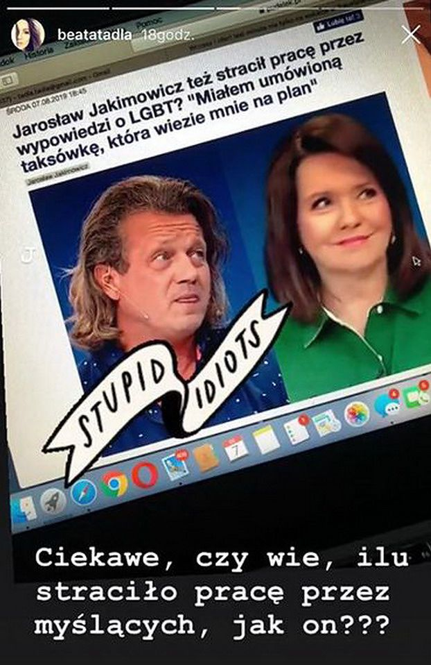 """Beata Tadla ostro o wywiadzie Jakimowicza dla TVP: """"Ciekawe czy wie, ilu straciło pracę przez MYŚLĄCYCH JAK ON?"""""""