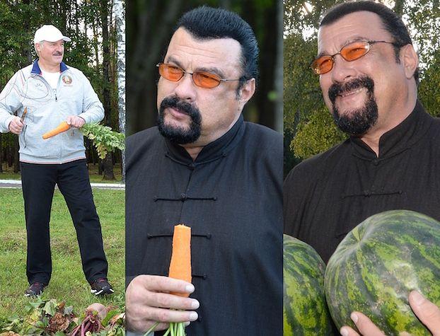 Steven Seagal je marchew z Łukaszenką i pozuje z arbuzami