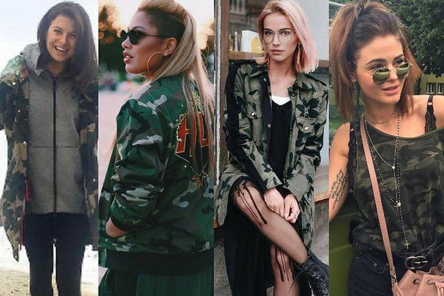 Militarny trend w stylizacjach celebrytek