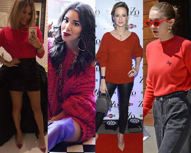 Czerwone swetry - z czym noszą je gwiazdy?