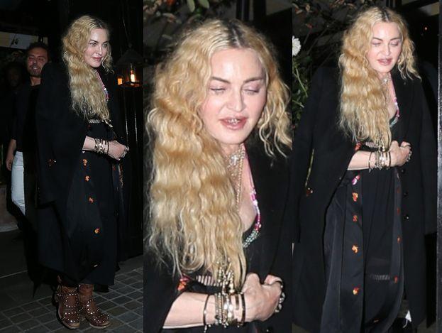 Zmęczona życiem Madonna wytacza się z ekskluzywnej londyńskiej restauracji