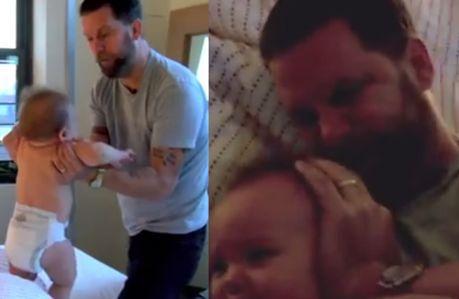"""Ojciec pokazuje, """"jak walczyć z niemowlakiem""""!"""