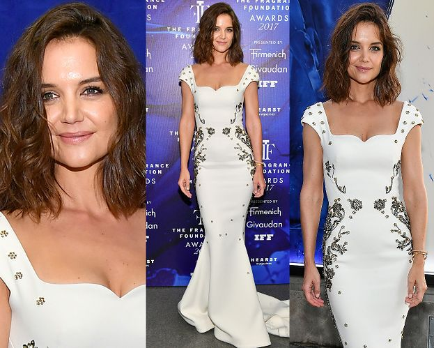 Elegancka Katie Holmes w białej sukni