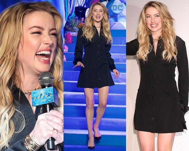 Rozbawiona Amber Heard promuje film w kusej sukience
