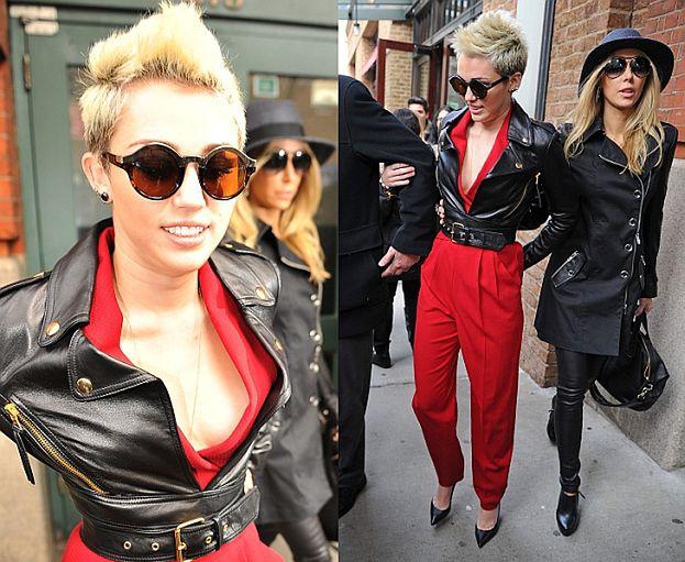 """""""Rockowa"""" Miley na Fashion Week w Nowym Jorku (BEZ STANIKA)"""