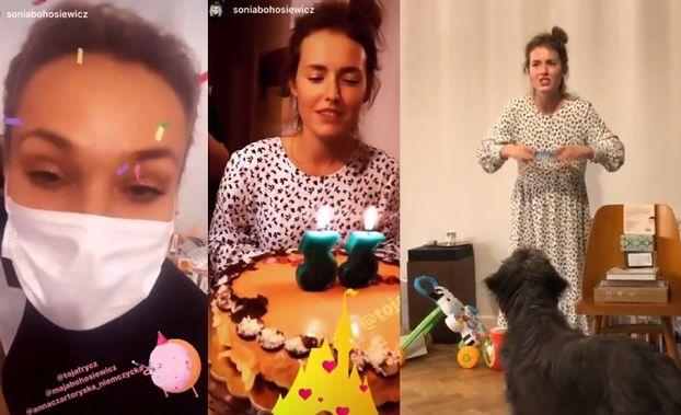 33. urodziny Olgi Frycz: Siostry Bohosiewicz w maseczkach chirurgicznych, suto zastawiony stół i bliźniacze sukienki (ZDJĘCIA)