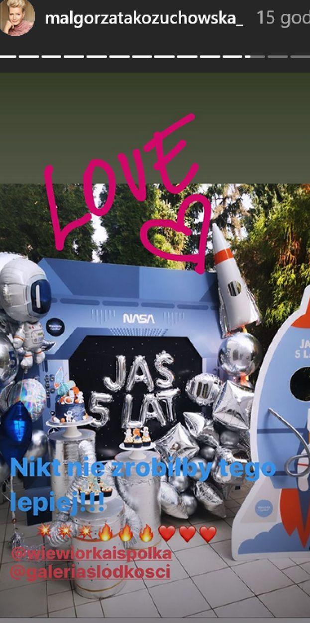 """Kożuchowska zorganizowała synowi """"kosmiczne"""" urodziny: balony w kształcie rakiet i """"odlotowy"""" tort. Słodko?"""