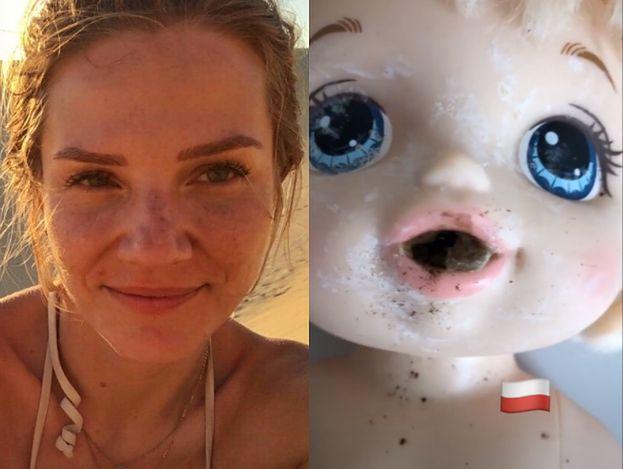 """Siostra Zofii Zborowskiej WYDŁUBUJE KAŁ z ust lalki na Instagramie: """"Stara, zaschnięta kupa"""""""