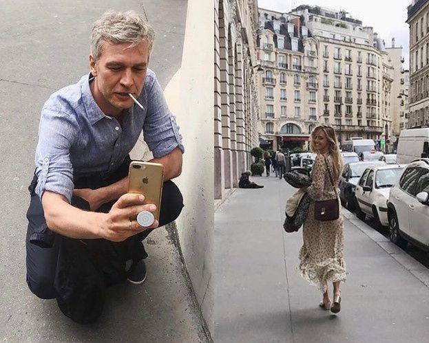 """Michał Żebrowski zaciąga się papierosem na zdjęciu z rocznicowej wycieczki do Paryża. """"TO LIZAK"""" odpisała fanowi żona (FOTO)"""