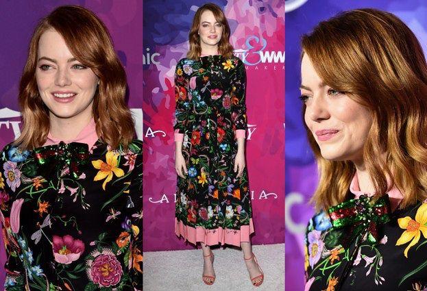 Emma Stone w kwiecistej sukience na imprezie