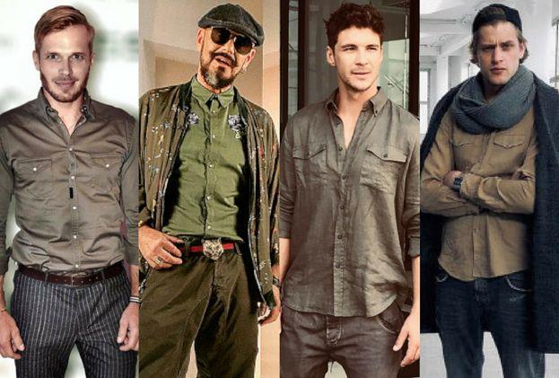 Z czym koszule khaki noszą celebryci?