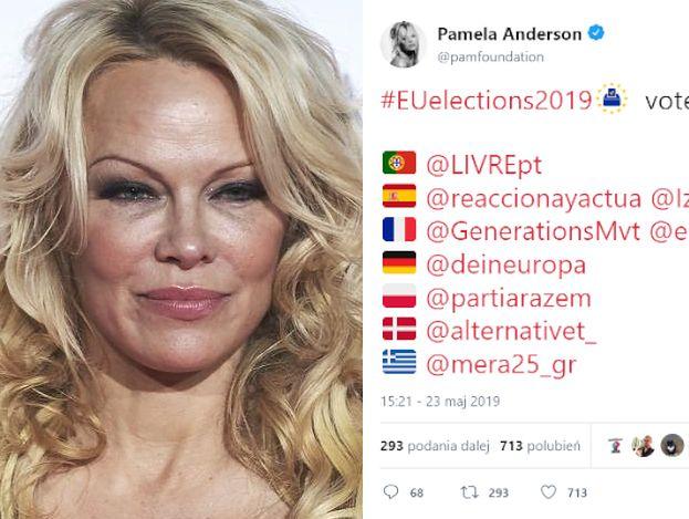 """Pamela Anderson zachęca do głosowania na Partię Razem. Internauci: """"Pochodzi to z twojego mózgu czy z sylikonu?"""""""