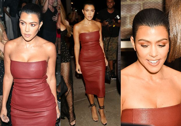 Elegancka Kourtney Kardashian w skórzanej sukience Toma Forda
