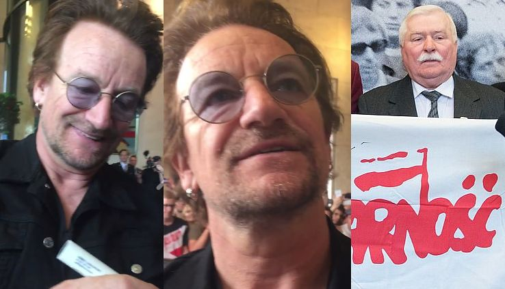 """Bono pozdrawia Lecha Wałęsę! """"To wielki człowiek. Ciągle potrzebujemy solidarności na świecie!"""""""