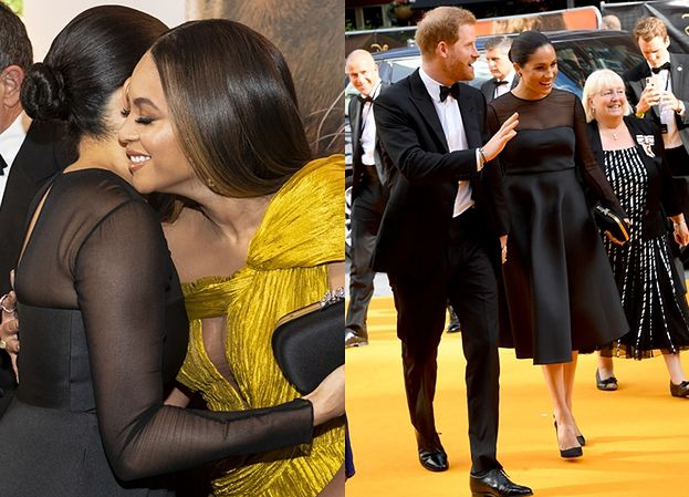 """Meghan Markle w stylizacji za 27 TYSIĘCY ZŁOTYCH przytula się do Beyonce na premierze """"Króla Lwa"""" (FOTO)"""